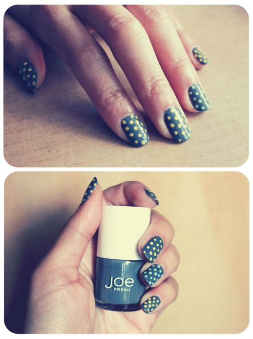 Grey yellow polka dot nails