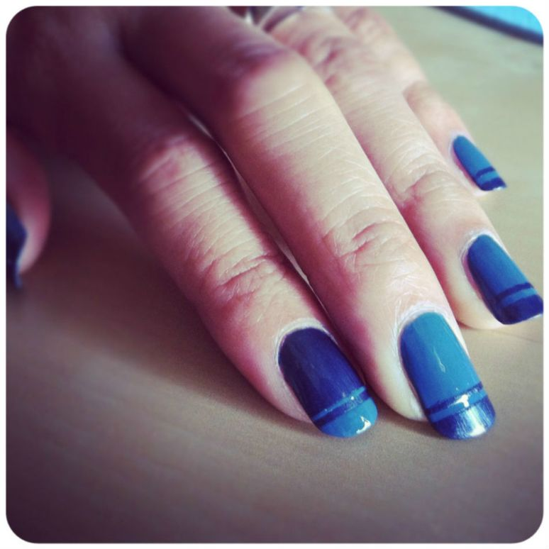 Double french manicure blue gunmetal