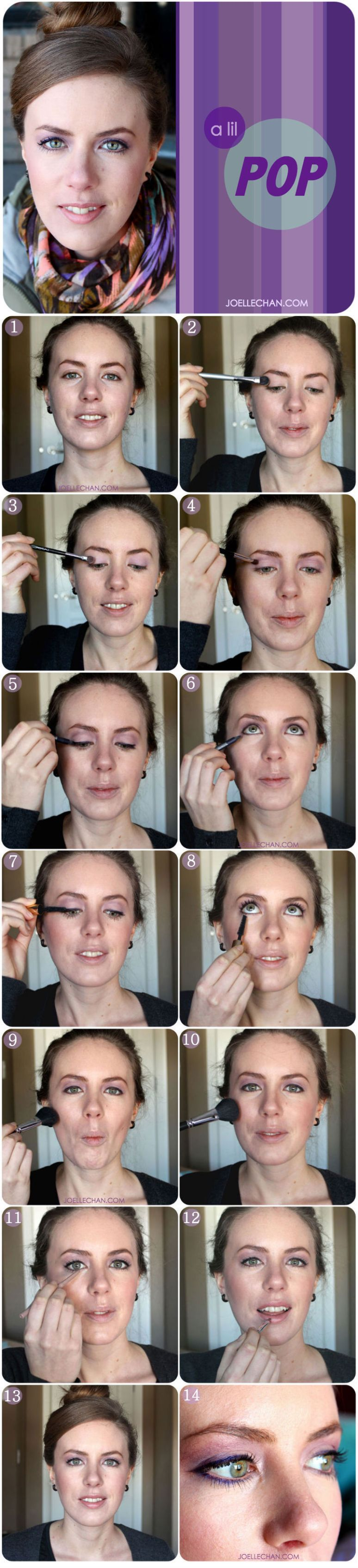 Purple Radiant Orchid Lilac Lavender - Everyday step-by-step picture makeup tutorial - Pantone 2014 green eyes - Joelle Chan Calgary Canada