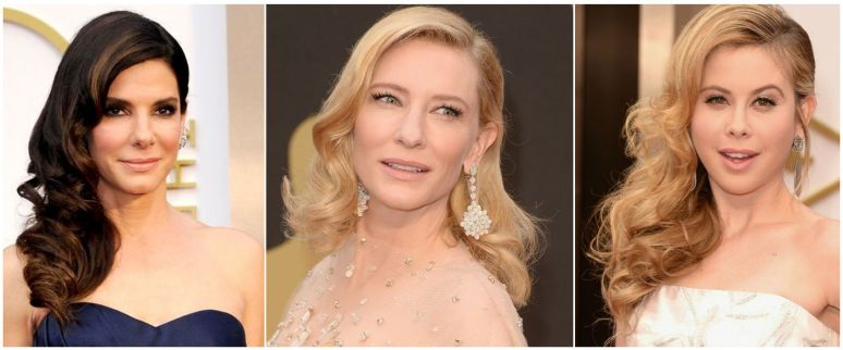 Sandra Bullock, Cate Blanchett, Tara Lipinski - Veronica Lake inspired hairsytyle Academy Awards 2014 - side swept deep parted brushed out curls - Joelle Chan Makeup artist Calgary Canada