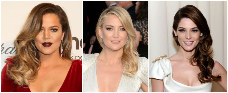 Khloe Kardashian, Kate Hudson, Ashley Greene - Veronica Lake inspired hairsytyle Academy Awards 2014 - side swept deep parted brushed out curls - Joelle Chan Makeup artist Calgary Canada